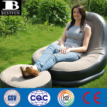 Top quality comfort flocking inflatable recliner chair lightweight garden recliner chair and matching footstool large recliners