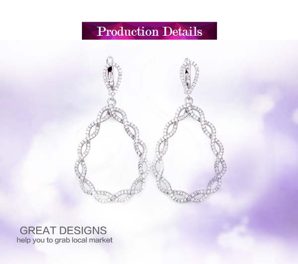 Special design AAA cz stone pave 925 silver crochet earrings