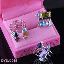 925 Silver Rhodium Plating Open Colorful CZ Women's Ring, Alibaba Latest Fashion Ring Photos Finger Rings