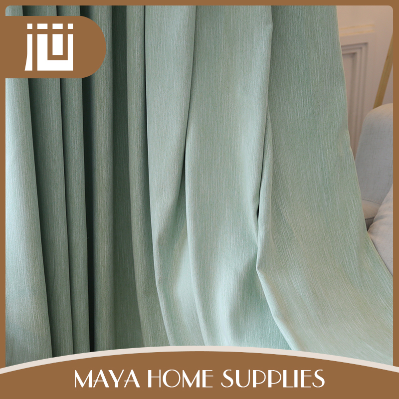 Custom cheap price 100% polyester light green woven curtain fabric malaysia