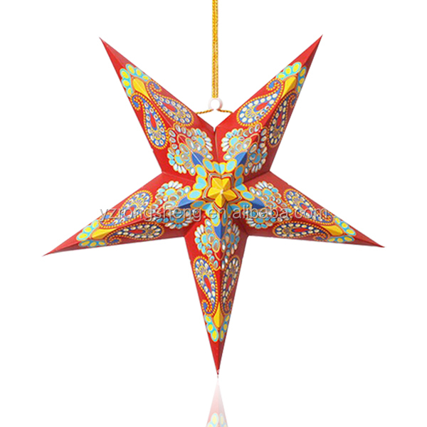 Decorative paper christmas star with light