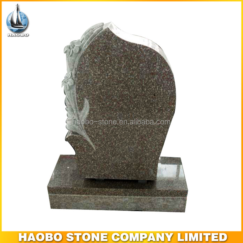 Haobo carved lily upright monument tombstone pictures