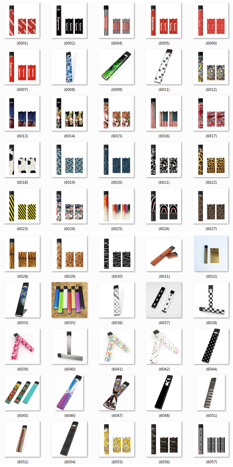 Custom 210 Styles Electronic Cigarette Sticker Protective Sticker JUUL Case/Decal/Wrap/Skin/Sticker
