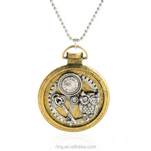 Mechanical watch design steampunk jewelry gear owl charms pendant necklace