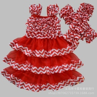 Pink red satin skirts ruffled chevron dresses with leg warmers party dress for 2-12 years old girls