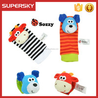 A-1578 Baby Wrist Rattles Hands Foots Toys Baby Wrist Rattle And Foot Finder Gift Set Lovely Infant Baby Foot Socks Rattles Toys