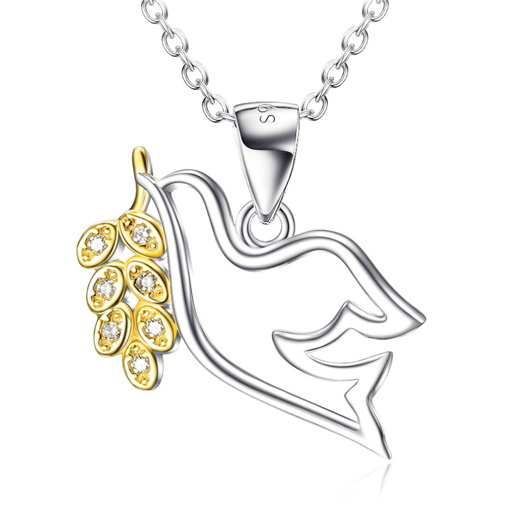 925 Sterling Silver Bird of Peace with Olive Branch Pendant Necklace