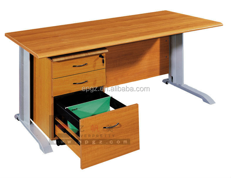 Low Price Modern Office Furniture Iron Computer Desk with Fixed Drawer For 2 Person
