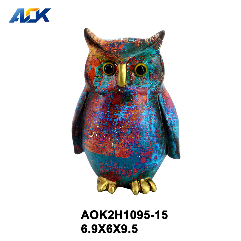 Colorful 3D Carved Bird Sculpture Resin Bird Statue