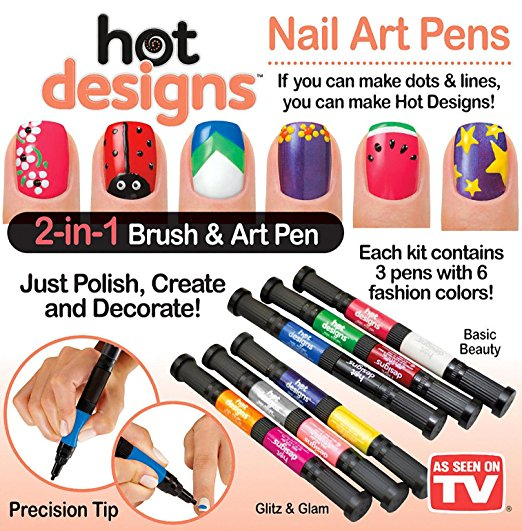 Hot Designs Double Ends Nail Art Polish Drawing Pens 2-in-1 Brush &Art Pen