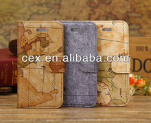 MAP PATTERN PU LEATHER BOOKLET CASE FOR IPHONE 5C