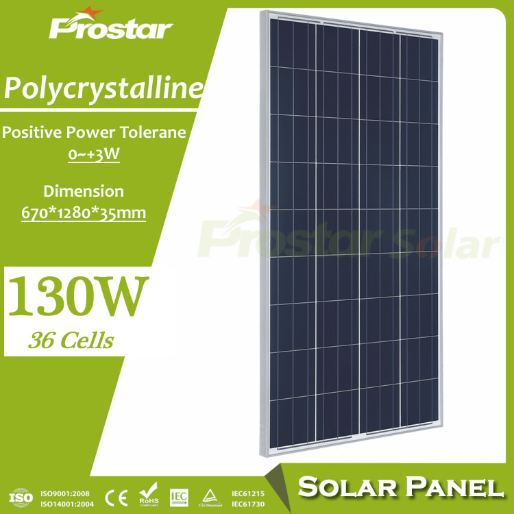 Prostar high quality pv solar module poly 130w solar panel