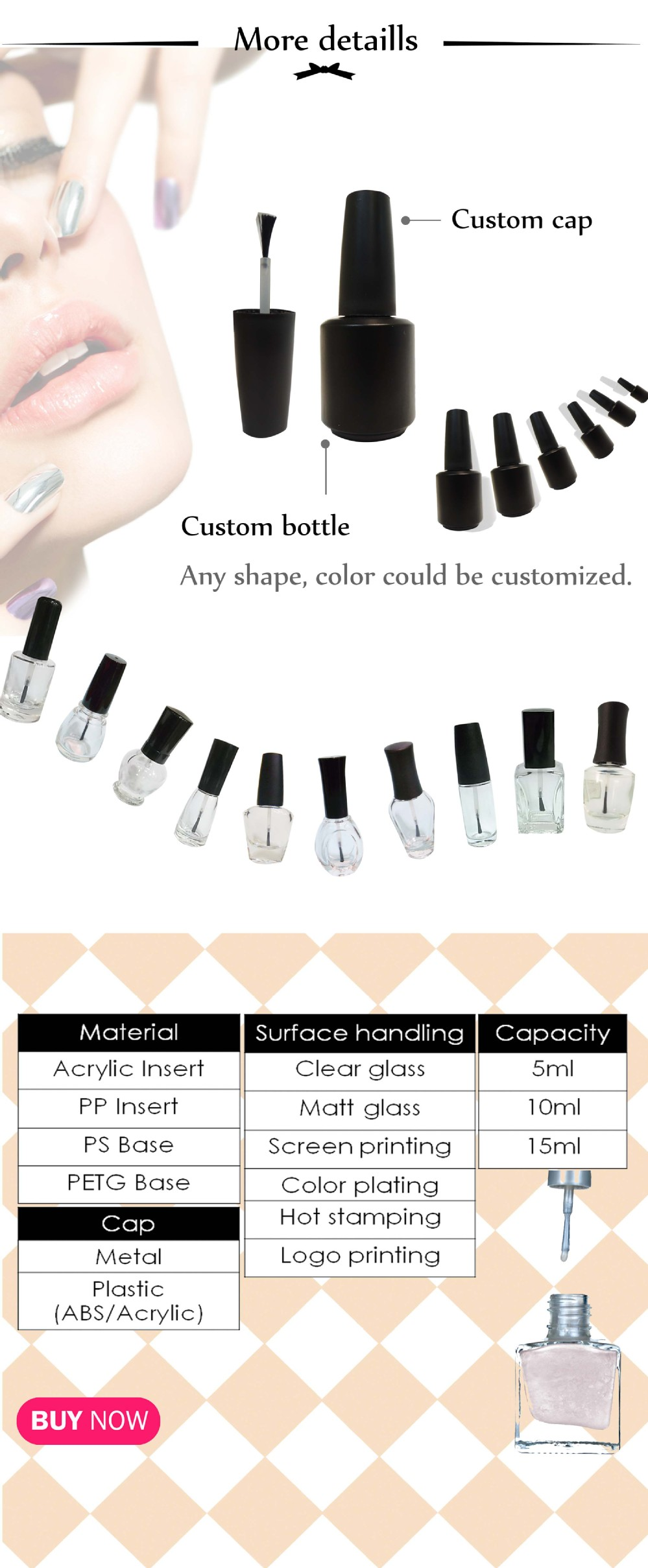 Pervision crystal clear 7ml empty nail polish bottle with wooden packaging
