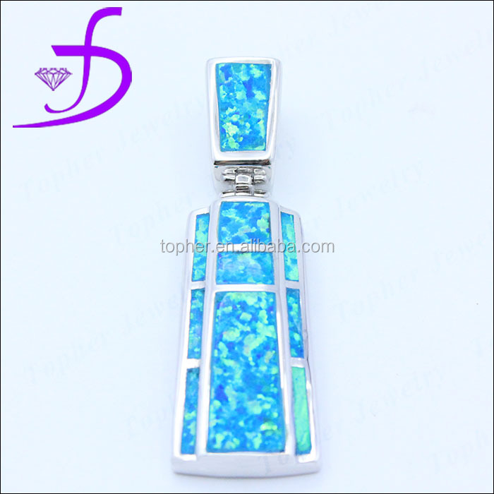 American hot sale rectangle shape silver jewelry blue opal pendant