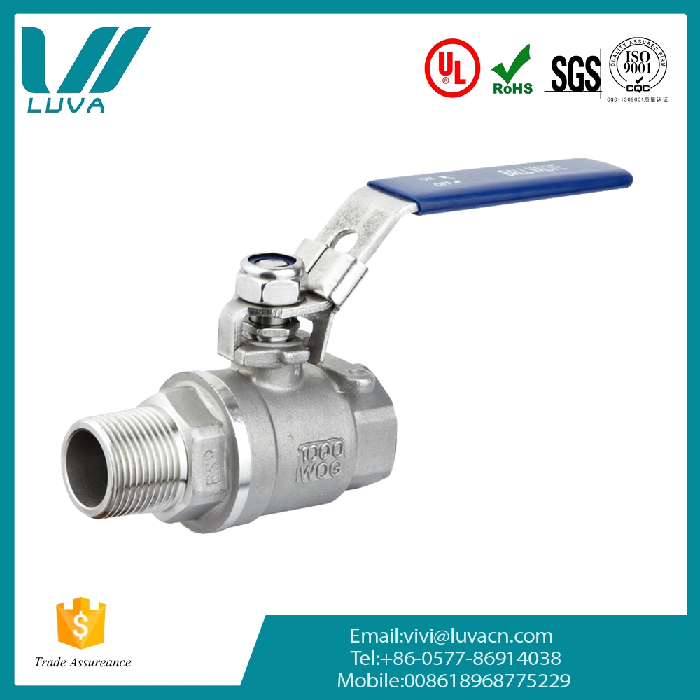 Stainless steel 2pc thread female and male thread ball valve with locking