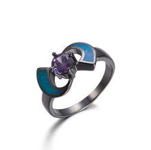 Online store fashion opal ring inlay purple diamond ring price cheap single stone ring designs for women R013