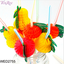 FengRise 50 Pieces Party Fruit Straw Plastic Drinking Straw Cocktail Hawaiian Theme Party Wedding Birthday Decoration