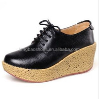 2016 trendy platform low weight real leather lady casual shoes