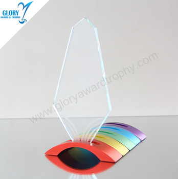 Colorful Metal Base Clear Blank Art Glass Trophies for Award Show