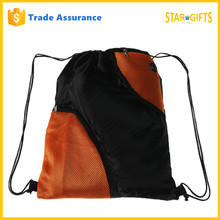 New Fashion Team Training Gym Sports 210d Polyester Deluxe Drawstring Backpack With Mesh Zipper Pockets