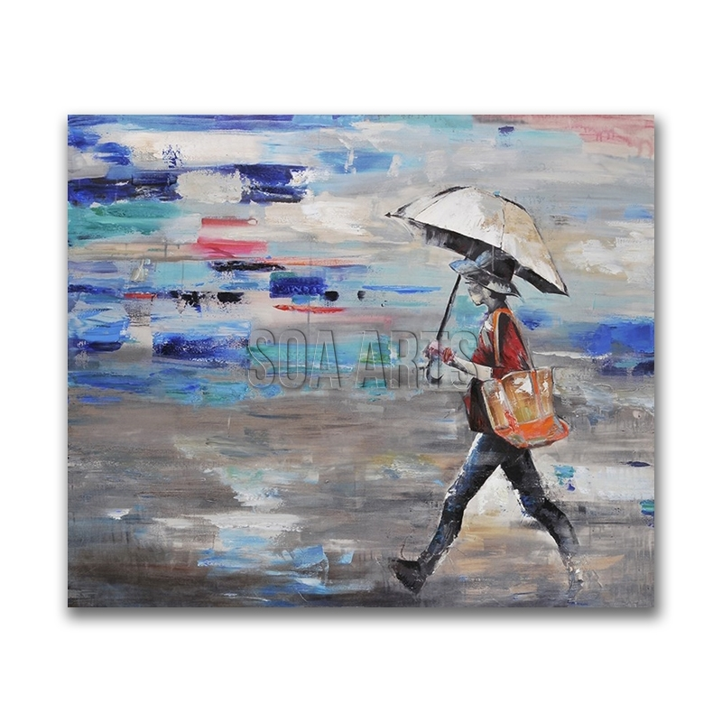 Girl Walking In Rain Abstract Contemporary Paintings For Sale