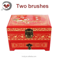 Promotional custom fashion Lacquer Painting wooden Jewelry box with mirror
