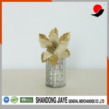 Embossed Silver Glass Vase with Flower for Wedding Decoration