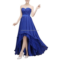 Navy blue strapless chiffon short front and back long prom evening dress
