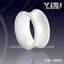 White Semi Ceramic Fashion Ring, flexible silver jewelry ring gift for girlfriend jewelry