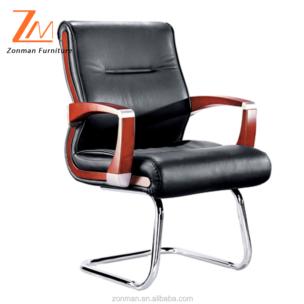 Multi-function Genuine Leather High Back Executive Office Chair with wooden arms and base
