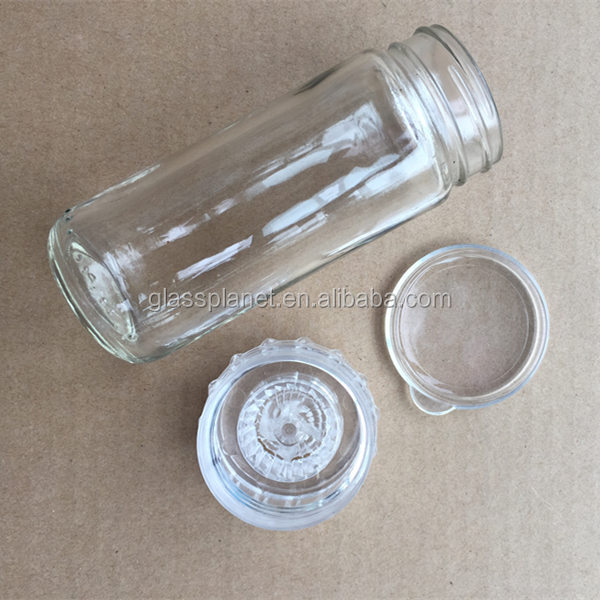 Glass Spice Bottle with Removable Grinder Lids