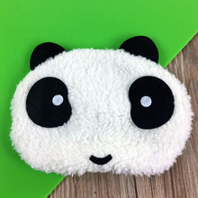Cartoon Soft Travel Relaxation Cotton Silk Panda Cute 3D Eye Mask Sleep Custom printed private label Logo eyemask wholesale