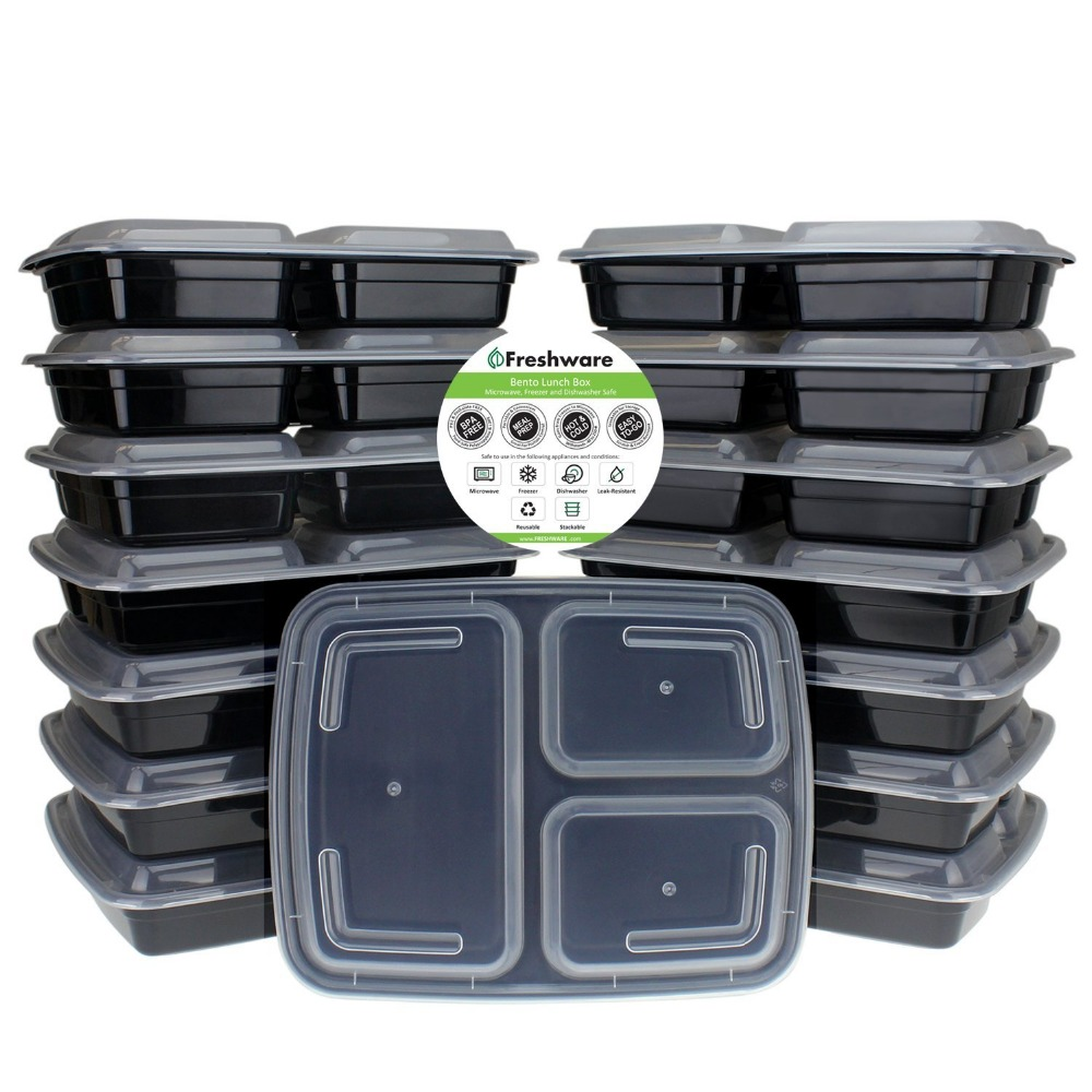3 compartment disposable PP plastic meal prep lunch box takeaway food container