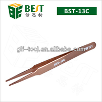 BEST-13C Round Tip Stainess Steel Tweezers for Volume Lashes