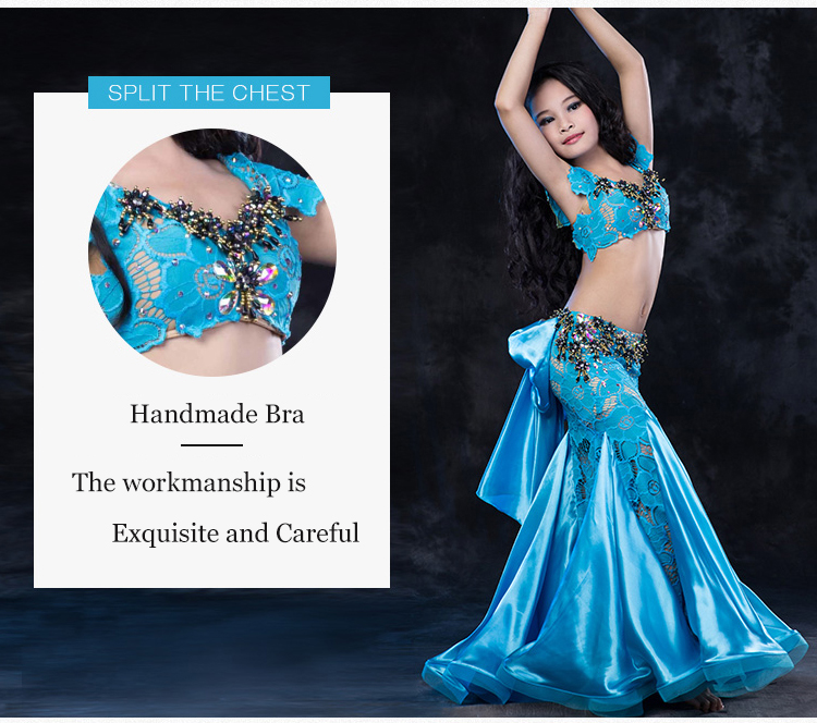 RT161 Wuchieal Lace and Spandex Girls Belly Dance Performance Costume