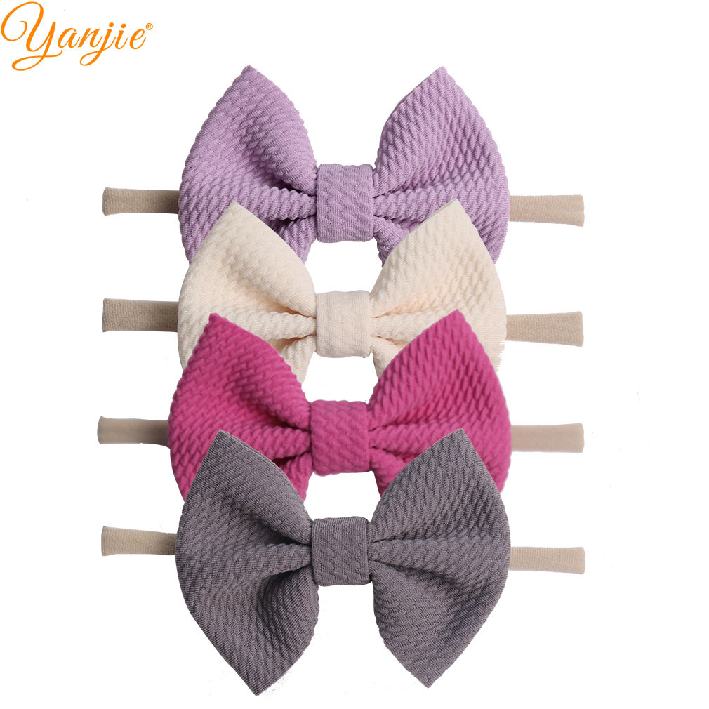 "4"" Bow Soft Elastic Nylon Baby Headband Hot Selling Hair Accessories Kids Headwear For Girl Decoration"