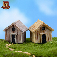 Natural fairy garden mini decorative houses for dec resin wooden fairy houses