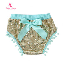 mint gold sequin girl baby underwear diaper covers newborn baby clothes