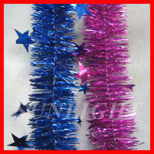 CHRISTMAS Decoration 2 Metre TINSEL Garland with Stars