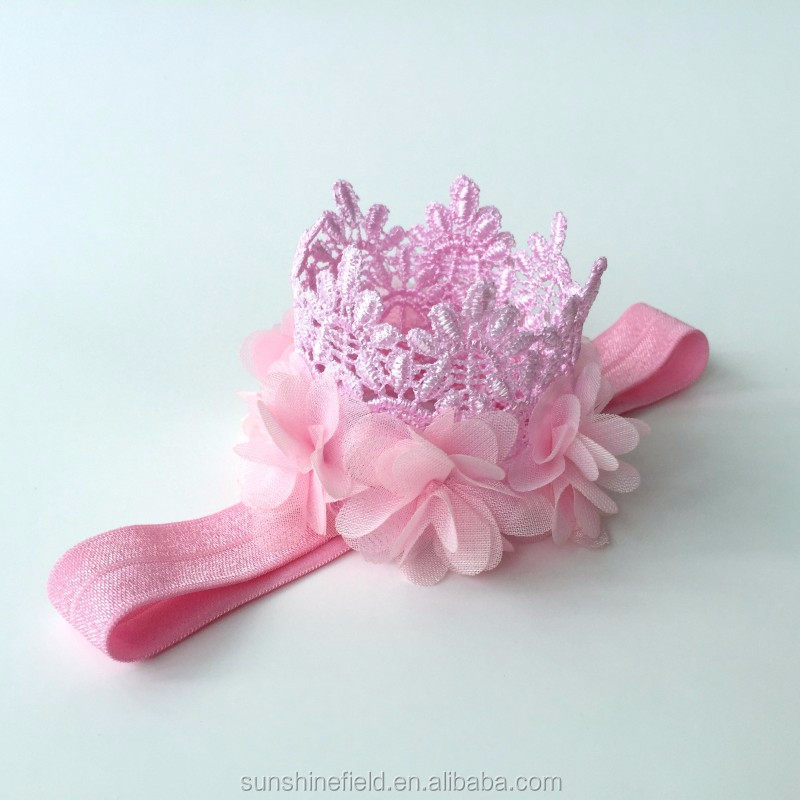 Vintage Style First Birthday Lace Crown Headband DIY Flower Headband Baby Girl Hair Accessories