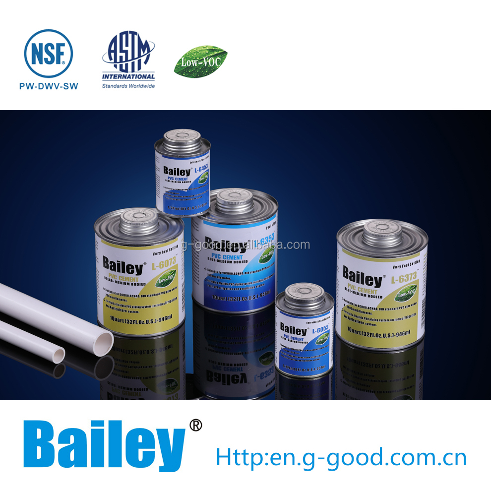 Bailey pvc / upvc pipe solvent cement / glue with nsf approval for pool and spa