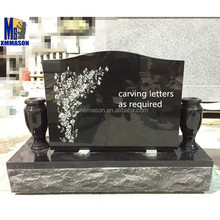 Black Granite Headstones with Cemetery Flower Urn
