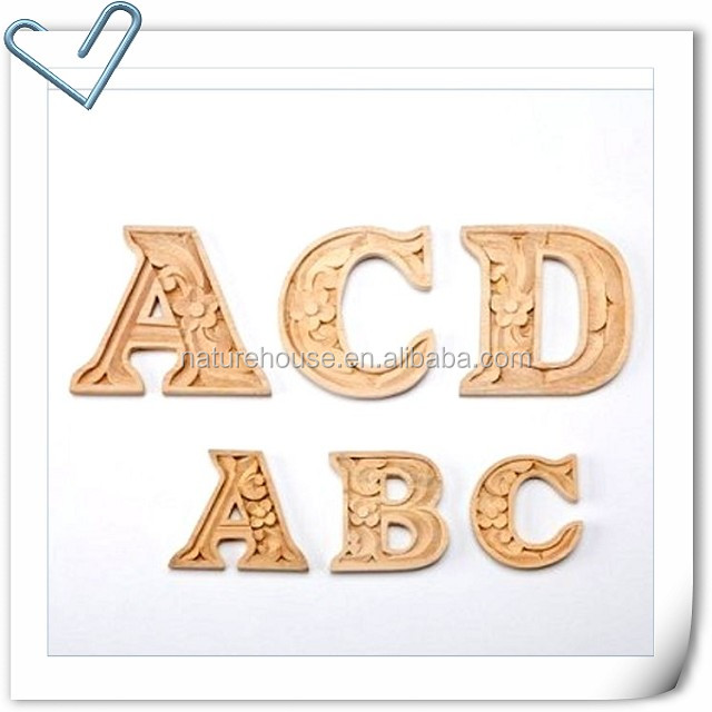Alphabet letters DIY Wooden Carved Home Decor wood carvings-9cm
