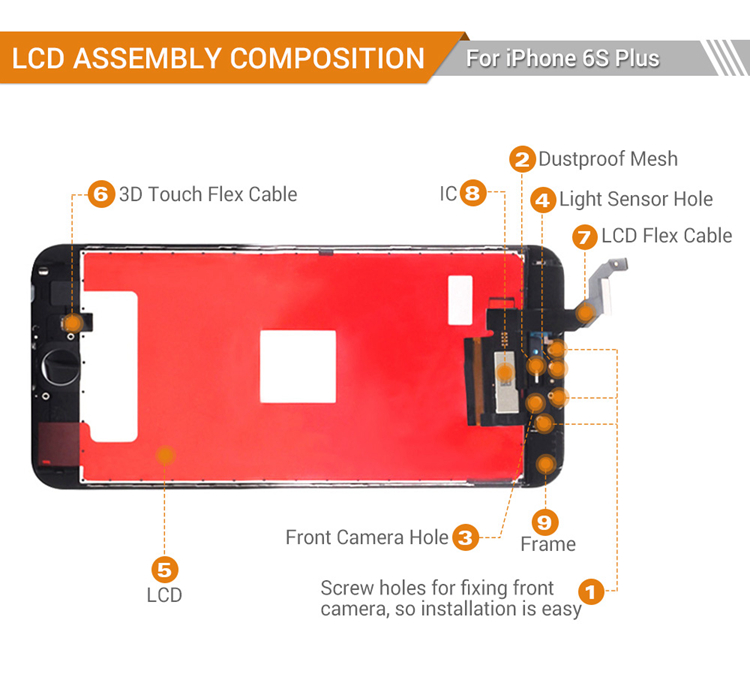 Lcd screen for iPhone 6s plus screen replacement with camera small spare parts