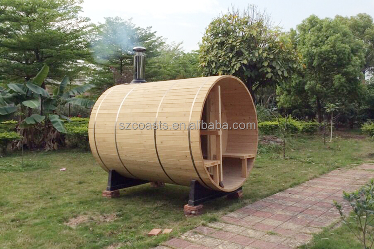 Traditional Outdoor Dry Barrel Wood Steam Sauna Room