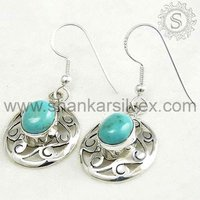 Turquoise Stone Earring, Handmade Silver Jewelry, Indian Fashion Jewelry