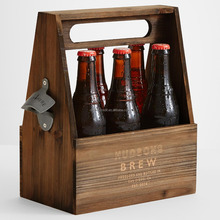Handcrafted Wooden Beer Carrier / Holder / Tote Wood Six Pack