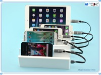 Desktop 6 Port Multi-Port USB Charging Center Charger station Cell Phones and Tablets with storage function