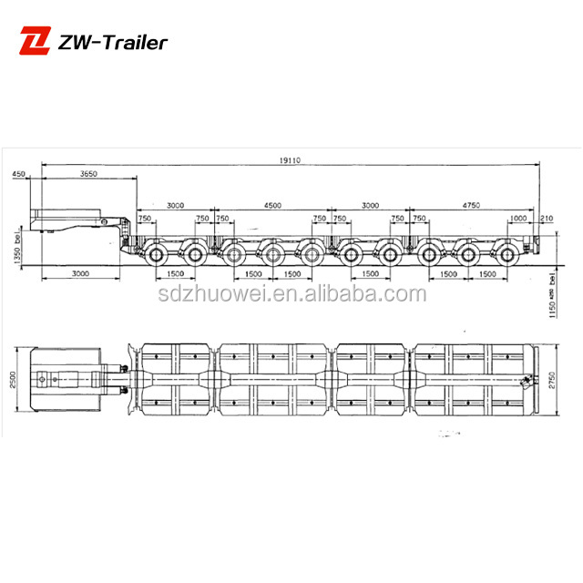 Carrying 200 Ton Hydraulic Detachable Gooseneck Multi Axle Modular Trailer