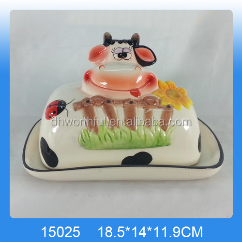 2017 new style ceramic cow butter dish,ceramic bread plate with cow pattern ,ceramic cow butter plate